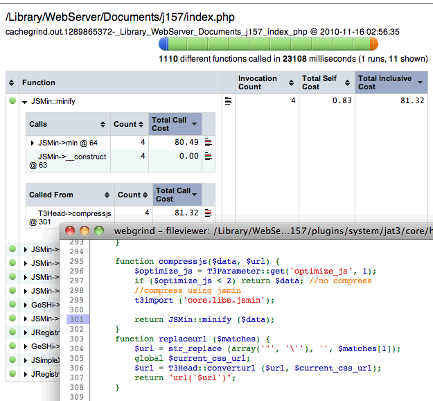 Webgrind window, showing additional info and source code